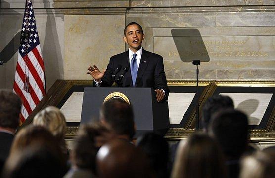 Americký prezident Barack Obama při prohlášení o národní bezpečnosti ve Washingtonu