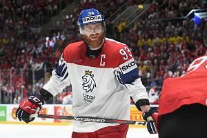 Bratislava 21.5.2019 - Mistrovství světa v Bratislavě - skupina B - Česko v bílém (Jakub Voráček) proti Švýcarsku v červeném