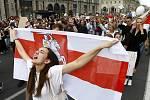 Demonstrace v Minsku proti falšování výsledků prezidentských voleb v Bělorusku