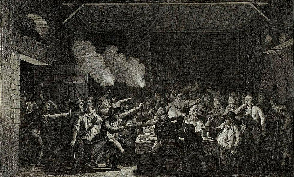 Zatčení Ludvíka XVI. a jeho rodiny ve Varennes. Foto: Wikimedia Commons, Musée de la Révolution française, volné dílo