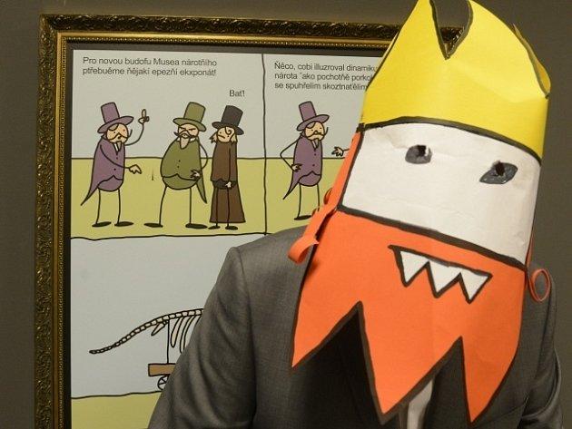 Autor vystupující pod přezdívkou Jaz (na snímku) zahájil 30. ledna v Praze výstavu svého komiksu s názvem Opráski sčeskí historje 20. století.