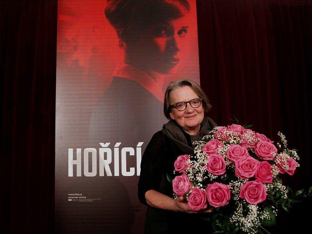 Režisérka Agnieszka Hollandová na tiskové konferenci, která se konala 18. ledna 2013 v Praze po projekci třídílného dramatu Hořící keř.