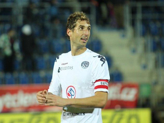 Slovácký útočník Libor Došek vystřelil v Plzni dvakrát, ale z gólu se neradoval.