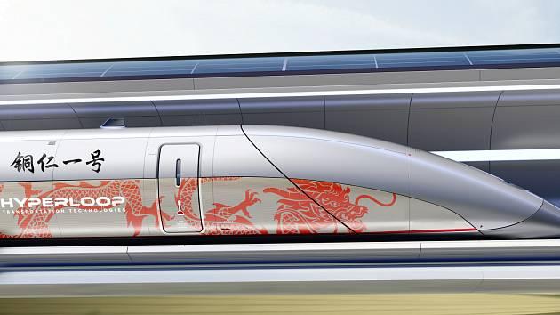 Vizualizace čínské kapsle Hyperloop TT