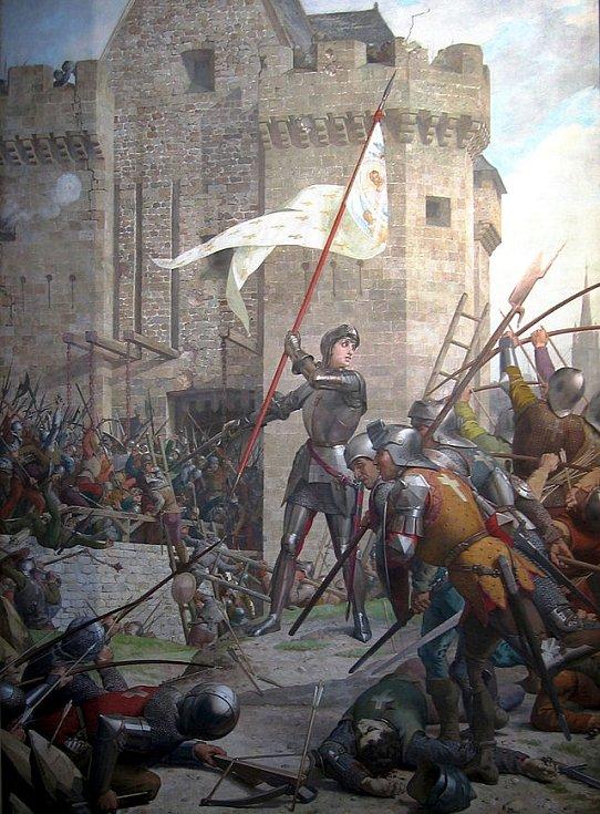 Jana z Arku vede útok proti pevnosti Tourelles u Orléansu