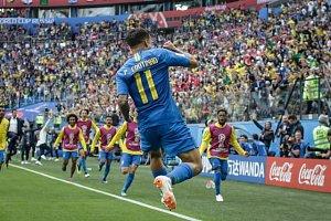 Philippe Coutinho slaví první branku do sítě Kostariky.