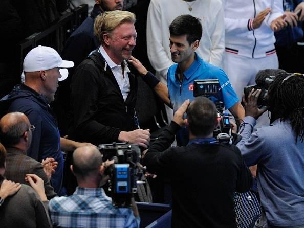 Novak Djokovič s trenérem Borisem Beckerem