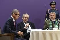 Miloš Zeman, Andrej Babiš, Aleš Opata - Prezident Miloš Zeman hovoří 15. října 2019 v Praze na slavnostním setkání velení armády, která si připomněla 100. výročí vzniku svého generálního štábu.