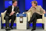 Angela Merkelová a David Cameron v Davosu