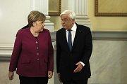 Německá kancléřka Angela Merkelová a řecký prezident Prokopis Pavlopulos.