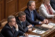 Jednání o důvěře vlády v Poslanecké sněmovně 16. ledna v Praze. Richard Brabec, Andrej Babiš, Martin Stropnický