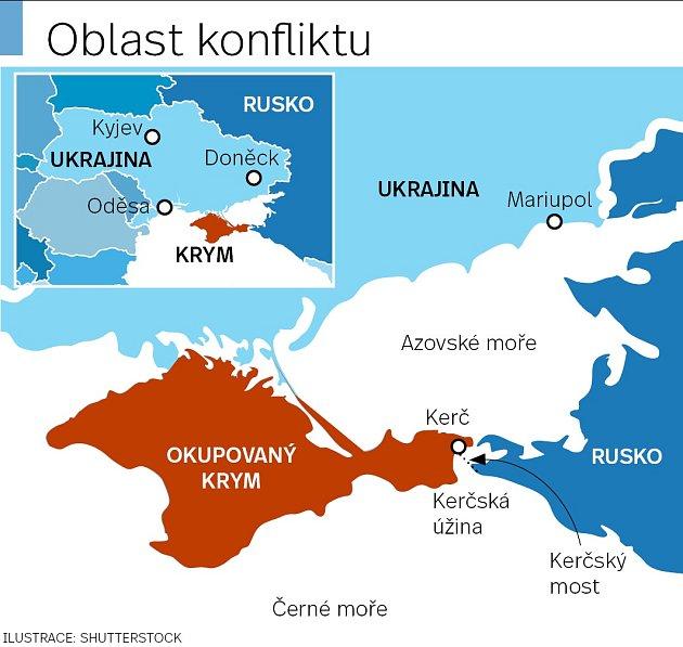 Mapa Azovského moře sKerčským průlivem.
