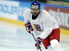 Tomáš Plekanec na tréninku české reprezentace před semifinále s Kanadou.