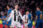 Hvězda Juventusu a jeden z nejlepších fotbalistů světa Cristiano Ronaldo slaví gól proti Atléticu Madrid v osmifinále Ligy mistrů