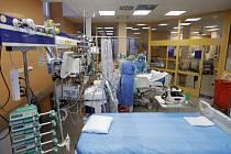 Zdravotníci u lůžka pacienta nakaženého koronavirem na jednotce intenzivní péče ve Všeobecné fakultní nemocnici v Praze, 7. dubna 2020.