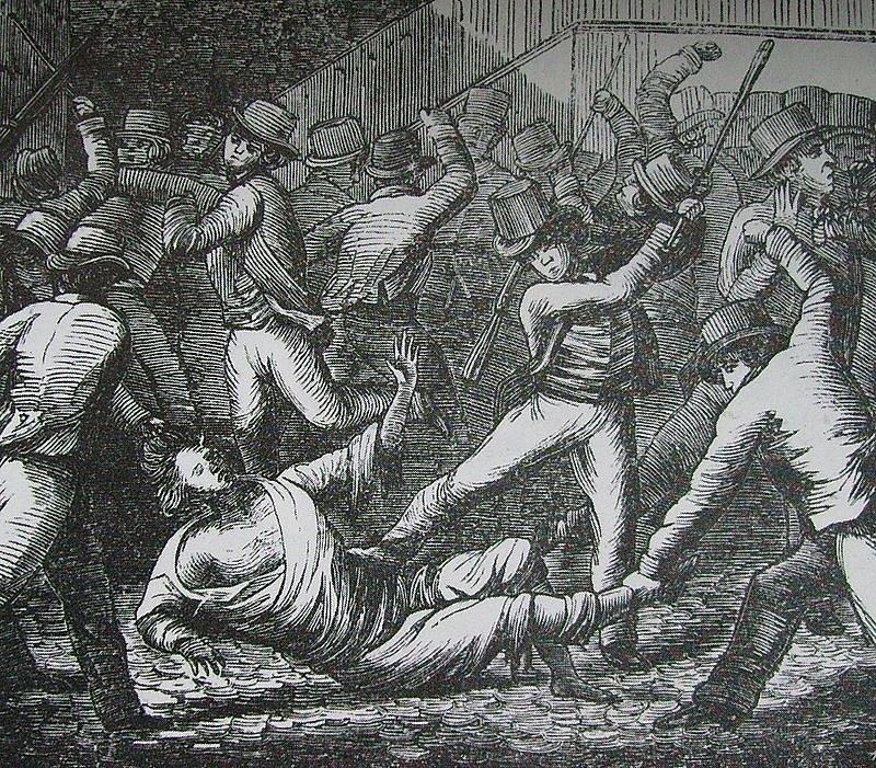 Lynč. Hraběte Hanse Axela von Fersena zabil rozzuřený dav 20. června 1810. K smrti jej ubil v ulicích Stockholmu.