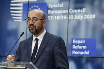 Předseda Evropské rady Charles Michel na tiskové konferenci v Bruselu na závěr summitu EU k fondu obnovy, 21. července 2020
