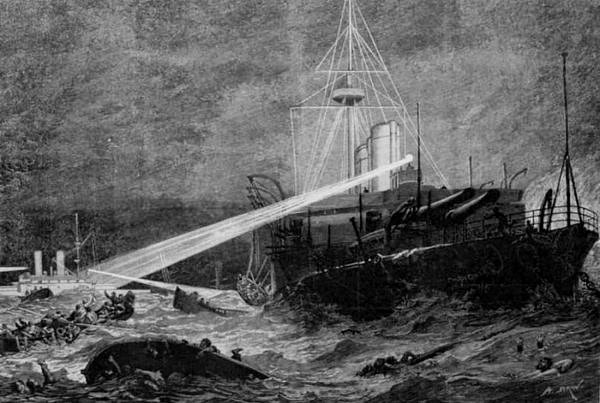 Válečná loď Anson usiluje o záchranu tonoucích lidí z Utopie, dobová ilustrace