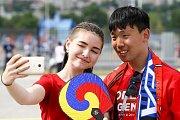 Jihokorejská fanynka. Fotbalové MS Rusko 2018