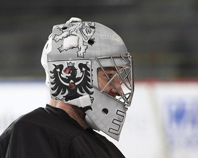 Pavel Francouz a jeho maska pro olympijské hry v Pchjongčchangu.
