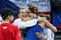 Zápas 1. kola Fed cupu mezi ČR a Švýcarskem, 11. února v Praze. Petra Kvitová, Lucie Šafářová, Barbora Strýcová