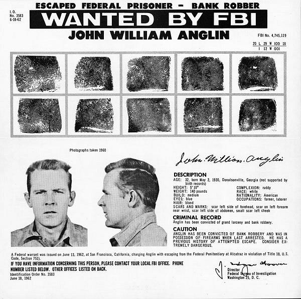 Policejnízpráva o vyhlášeném pátrání po Johnu Anglinovi