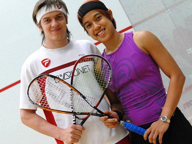 Jan Koukal a světová ženská jednička Nicole Davidová z Malajsie.