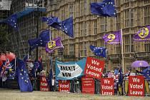 Příznivci setrvání Británie v EU i podporovatelé brexitu protestují u parlamentu v Londýně na snímku z 3. září 2019.