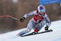 Česká lyžařka Ester Ledecká na trati superobřího slalomu ve Val d'Isere