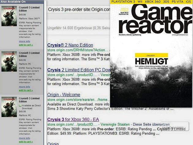 Důkaz o počítačové hře Crysis 3.