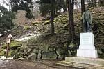 Socha Heinricha Mattoniho. Slavný podnikatel dal lázním největší slávu.