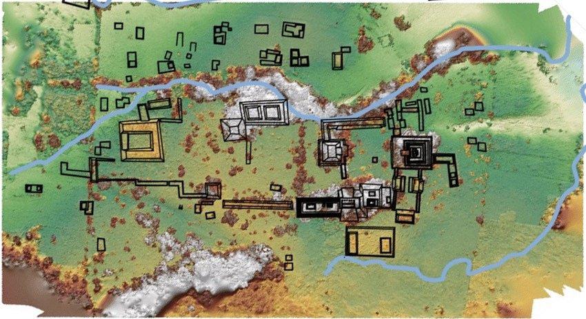 Mapa hlavního města mayského království Sak Tz'i