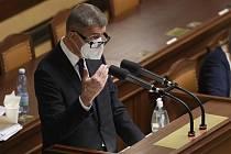 Premiér Andrej Babiš (ANO) žádá Sněmovnu o prodloužený nouzového stavu.