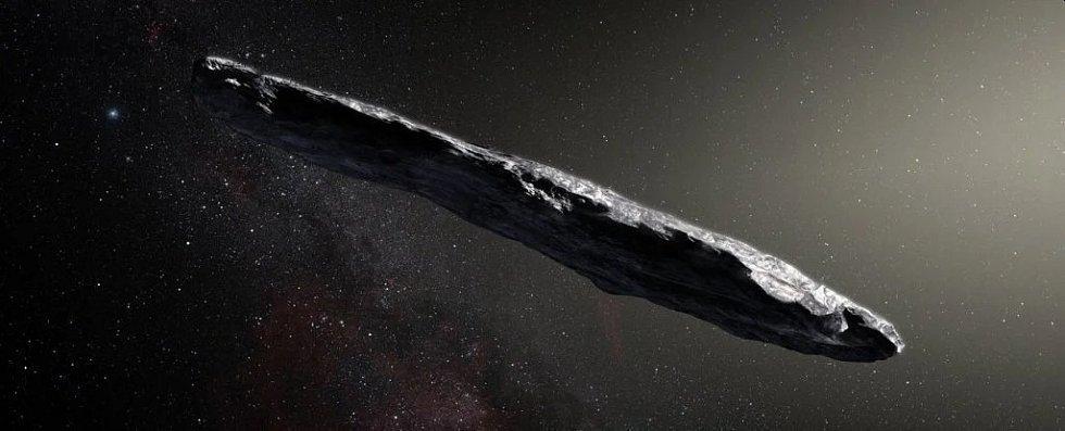 Umělecká představa mezihvězdného tělesa 'Oumuamua