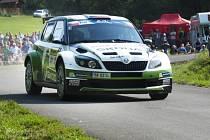 Barum rallye, závod seriálu mistrovství Evropy a mezinárodního mistrovství České republiky v automobilových soutěžích, 31. srpna v Lukově na Zlínsku. Jan Kopecký a Petr Starý ve voze Škoda Fabia S2000.