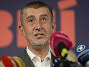 Předseda hnutí ANO Andrej Babiš po jasném vítězství ve volbách.