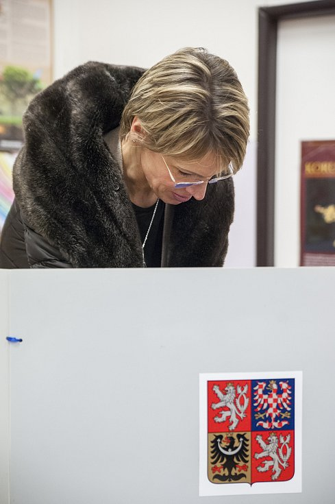 Manželka Vratislava Kulhánka Bohumila Bračíková volí, Praha, 12.1.2018
