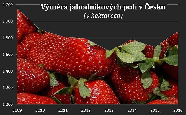 Výměra jahodníkových polí vČesku vletech 2009až 2016