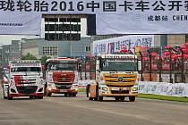 První podnik čínského truckového šampionátu v Čcheng-tu.