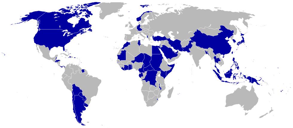 Mapa světa z roku 1980 s modře vyznačenými zeměmi, jež se rozhodly zúčastnit bojkotu olympijských her v Moskvě
