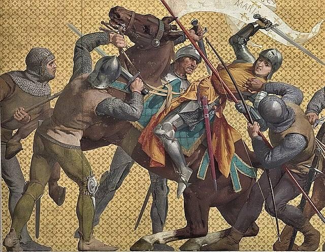 Jana z Arku se v bitce před městem Compiègne dostává do rukou Burgunďanů