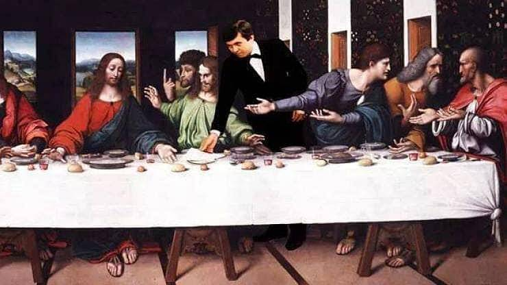 Neodbytný vrchní na Poslední večeři Páně
