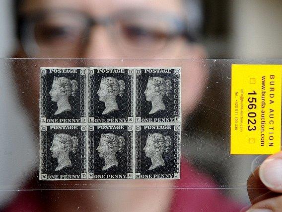 Šestiblok prvních známek světa Penny Black.