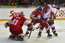Utkání hokejového turnaje Carlson Hockey Games série Euro Hockey Tour mezi týmy ČR a Ruska, 5. května 2019 v Brně
