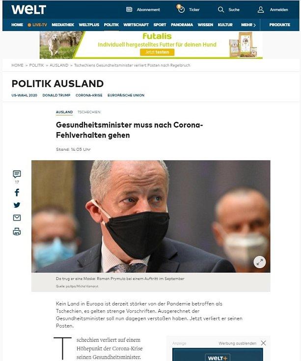 Světová média zaznamenala Prymulovu blamáž. Die Welt