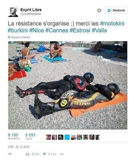 Francouzská města zakázala v roce 2016 koupání v burkinách. Na sítích se objevila fotografie mužů na pláži v motorkářských oblecích, prý šlo o protest proti zákazu. Původ fotky je nejasný, ale na internetu byla už dříve, se zákazem tak neměla souvislost.