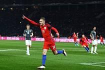 Jamie Vardy a jeho radost z gólu do sítě Německa