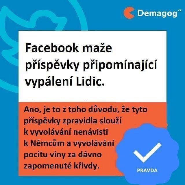 Nepravdivá koláž, která napodobovala styl webu Demagog.cz a lhala o mazání zmínek o Lidicích na Facebooku. Demagog.cz ve skutečnosti takto nereagoval a Facebook žádné zmínky o Lidicích nemazal