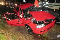 Rodinná tragédie na dálnici. V červené Škodě Oktávii (na snímku) včera zemřeli otec a syn z Brna. Matka utrpěla vážná zranění a leží v třebíčské nemocnici.