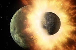 Vizualizace srážky dvou těles - to ve velikosti Měsíce naráží do jiného, ve velikosti Merkuru. (2017)